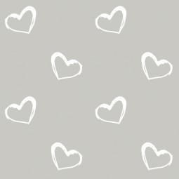 Сменный чехол для подушки 170 Сердечки серый